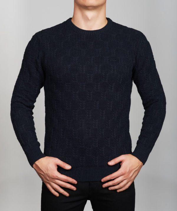 Vyriškas tamsiai mėlynos spalvos megztinis apvaliu kaklu