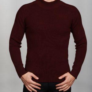 Vyriškas bordo spalvos megztinis aukštu kaklu