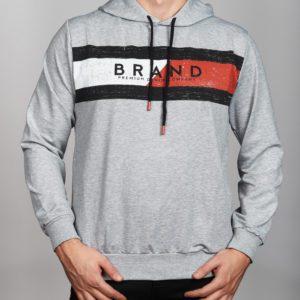 Vyriškas pilkos spalvos džemperis su gobtuvu