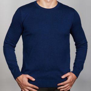 Vyriškas mėlynos spalvos megztinis apvaliu kaklu