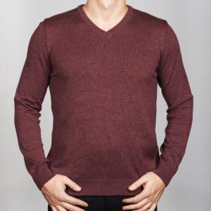 Vyriškas bordo spalvos megztinis trikampiu kaklu