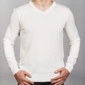 Vyriškas baltos spalvos megztinis trikampiu kaklu