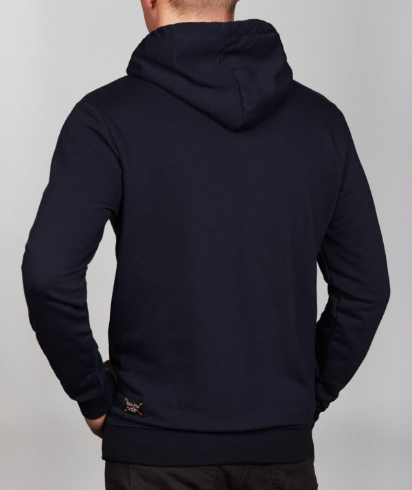 Vyriškas mėlynos spalvos džemperis su gobtuvu