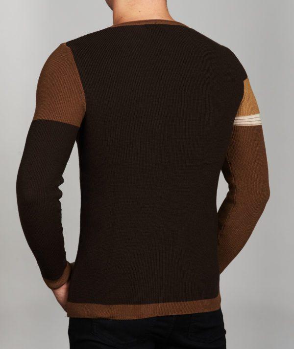 Vyriškas rudos spalvos megztinis apvaliu kaklu