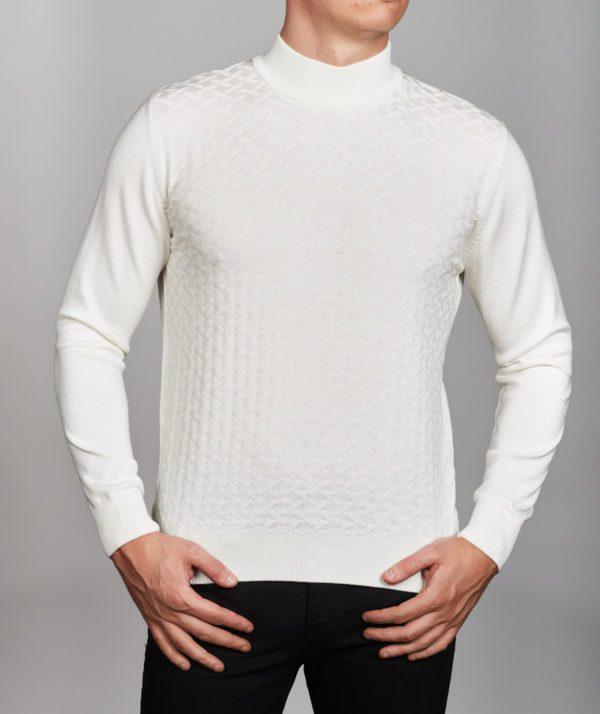 Vyriškas baltos spalvos megztinis aukštu kaklu