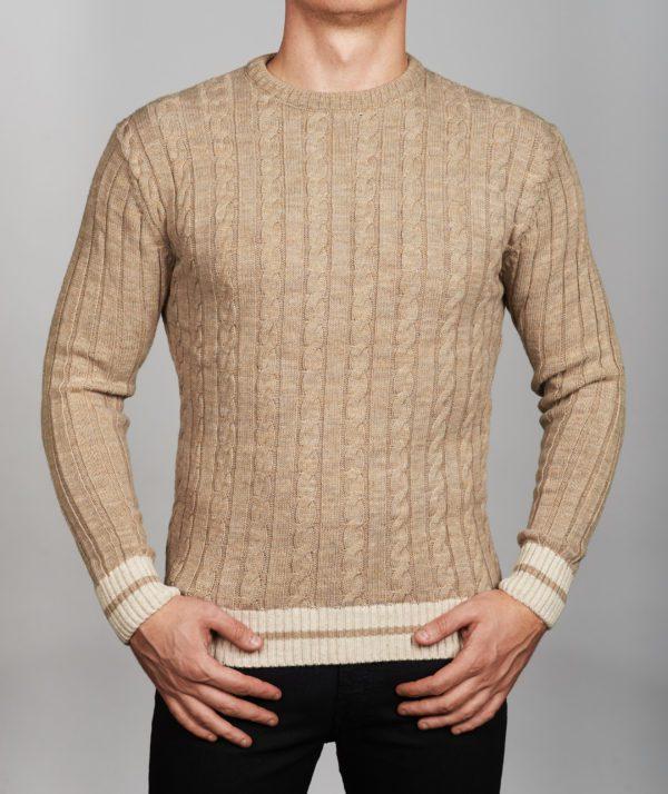 Vyriškas šviesiai rusvos spalvos megztinis apvaliu kaklu