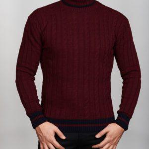 Vyriškas bordinės spalvos megztinis aukštu kaklu