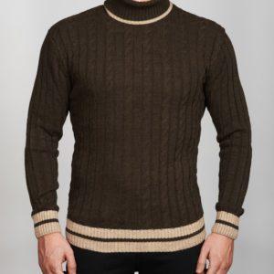 Vyriškas rudos spalvos megztinis aukštu kaklu