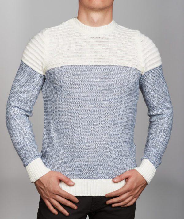 Vyriškas baltos spalvos megztinis apvaliu kaklu