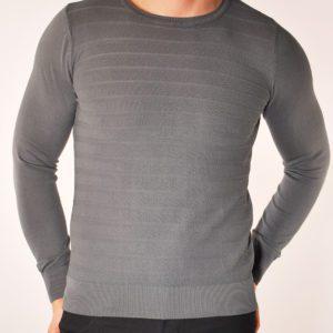 Vyriškas pilkos spalvos megztinis apvaliu kaklu, vyriški megztiniai, vyriški drabužiai