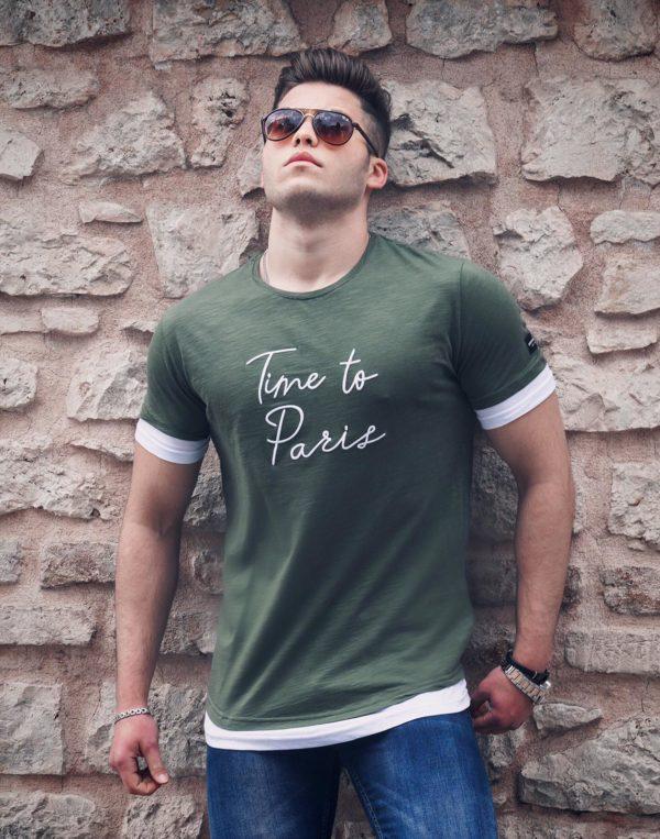 """Chaki vyriški marškinėliai su užrašu """"Time to Paris"""""""