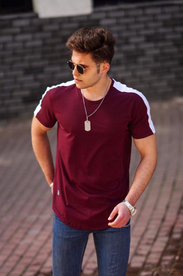 Bordo vyriški marškinėliai su juostele ant pečių