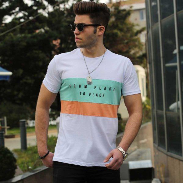 Balti vyriški marškinėliai su užrašu From Palace