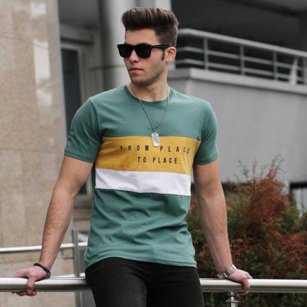 Žalsvi vyriški marškinėliai su užrašu From Place