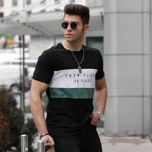 Juodi vyriški marškinėliai su užrašu From Place