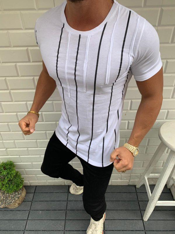 Balti vyriški marškinėliai su juostelėmis