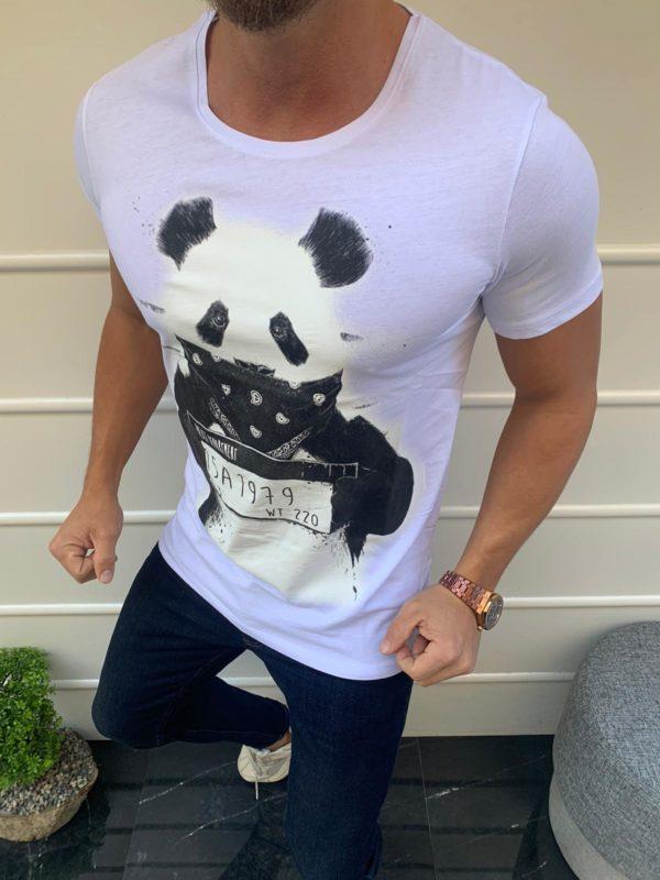 Balti vyriški marškinėliai su bloga panda