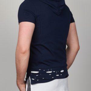 Mėlyni vyriški marškinėliai su kapišonu