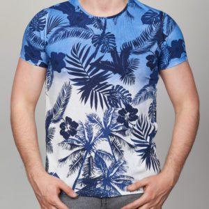 Mėlyni vyriški marškinėliai su palmėmis