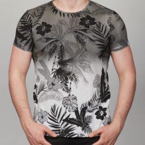 Pilki vyriški marškinėliai su palmėmis