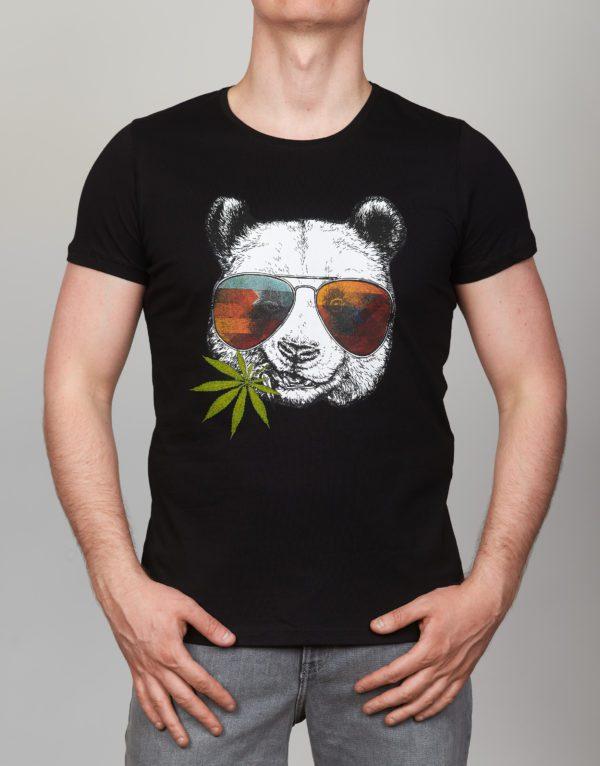 Juodi vyriški marškinėliai su panda