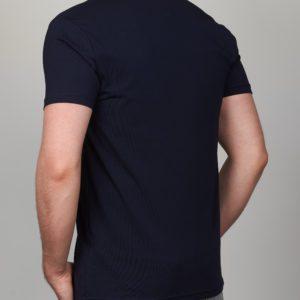 Tamsiai mėlyni vienspalviai vyriški marškinėliai Moz