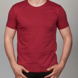 Bordo vienspalviai vyriški marškinėliai su kišene Medi