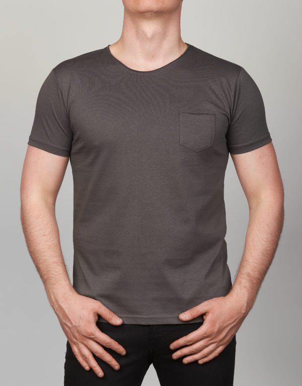 Pilki vienspalviai vyriški marškinėliai su kišene Medi