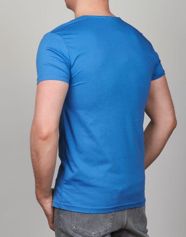 Šviesiai mėlyni vienspalviai vyriški marškinėliai su kišene Medi