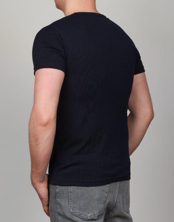Tamsiai mėlyni vienspalviai vyriški marškinėliai Nis