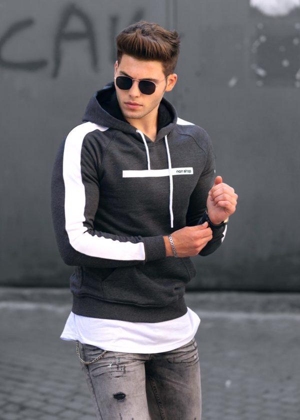 Vyriškas džemperis tamsiai pilkas Non, vyriški džemperiai, vyriški drabužiai